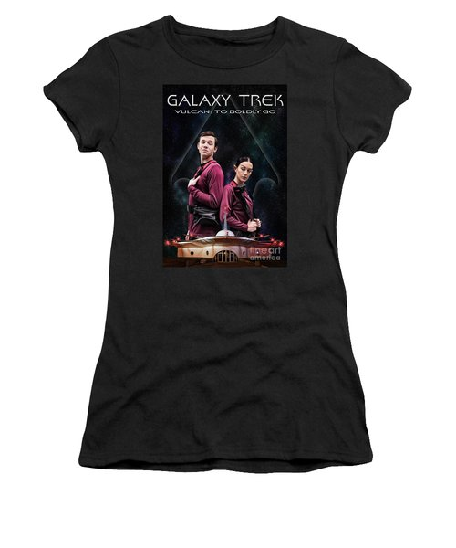 Women's T-Shirt (Athletic Fit) featuring the photograph Galaxy Trek  Vulcan To Boldly Go Poster  Away Team by Brad Allen Fine Art