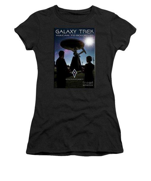 Women's T-Shirt (Athletic Fit) featuring the photograph Galaxy Trek  Vulcan To Boldly Go Poster  Pilot Episode by Brad Allen Fine Art