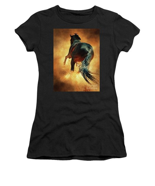Galloping Horse In Fire Dust Women's T-Shirt
