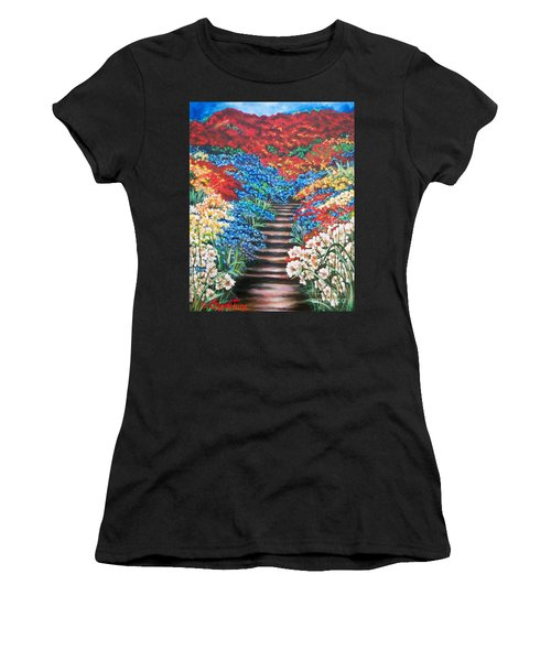 Red White And Blue Garden Cascade.               Flying Lamb Productions  Women's T-Shirt