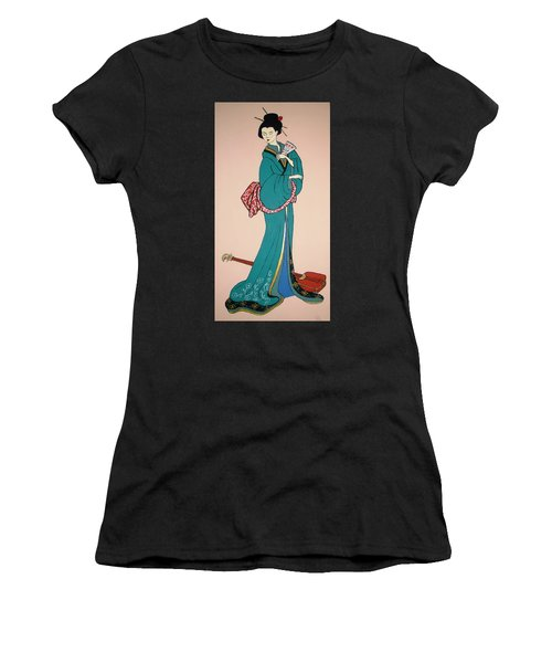 Women's T-Shirt (Junior Cut) featuring the painting Geisha With Guitar by Stephanie Moore