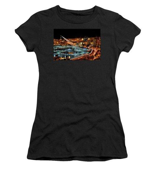 Genoa And The Lighthouse By Night - Genova E La Sua Lanterna  Women's T-Shirt