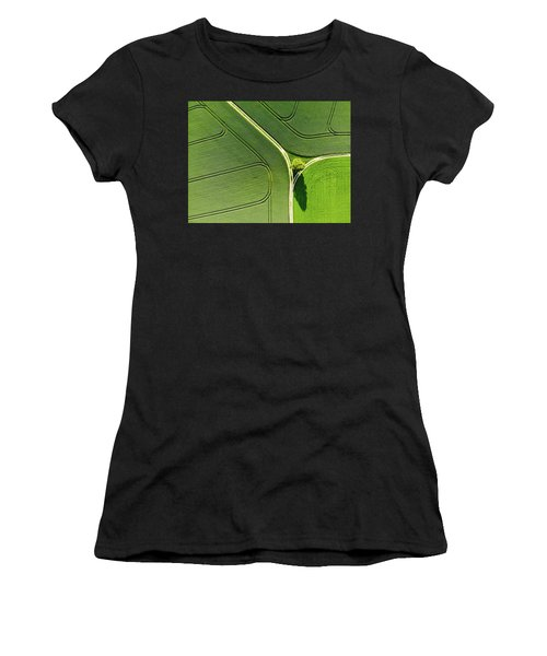Geometric Landscape 05 Tree And Green Fields Aerial View Women's T-Shirt
