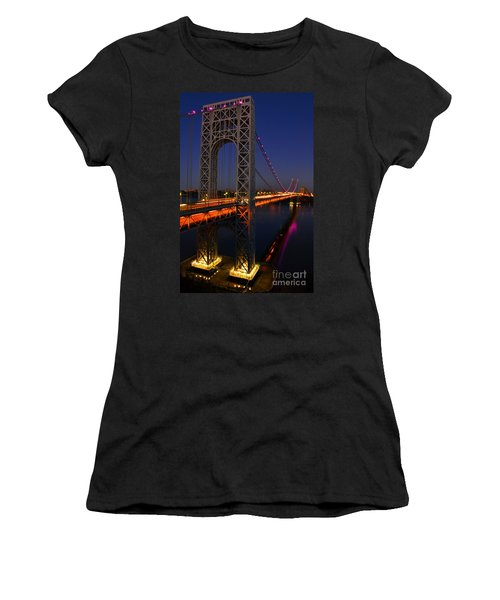 George Washington Bridge At Night Women's T-Shirt (Athletic Fit)