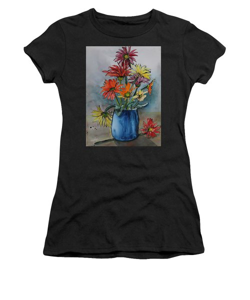 Gerberas In A Blue Pot Women's T-Shirt (Athletic Fit)