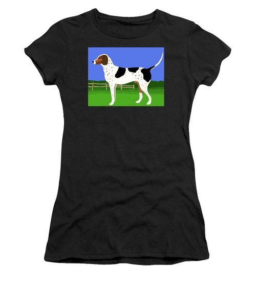 German Shorthaired Pointer In A Field Women's T-Shirt (Athletic Fit)