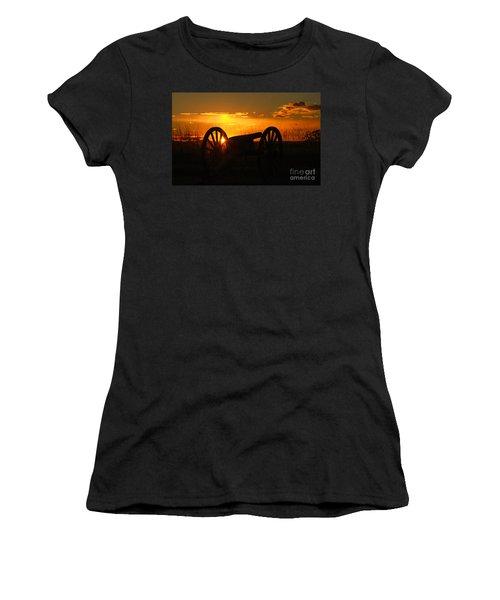 Gettysburg Cannon Sunset Women's T-Shirt (Junior Cut) by Randy Steele