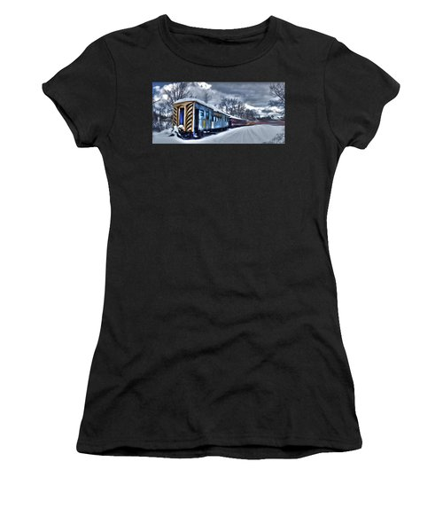 Women's T-Shirt featuring the photograph Ghost Train In An Existential Storm by Wayne King