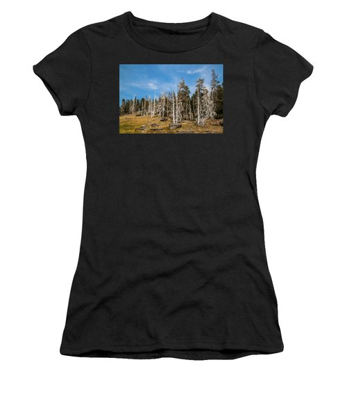 Women's T-Shirt (Athletic Fit) featuring the photograph Ghost Trees At Yellowstone by Lon Dittrick