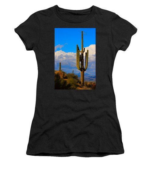 Giant Saguaro In The Southwest Desert  Women's T-Shirt (Athletic Fit)
