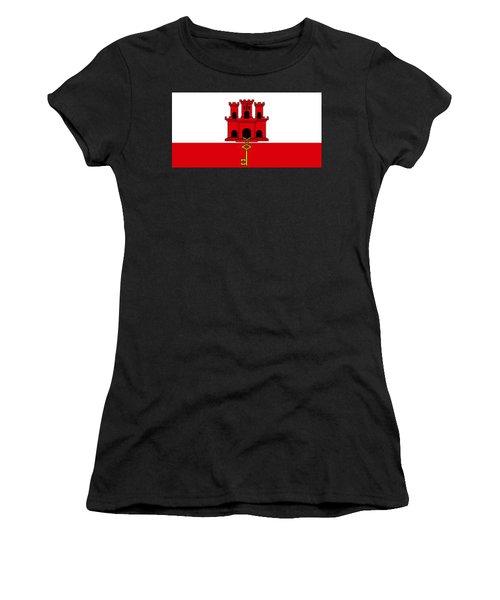 Women's T-Shirt featuring the digital art Gibraltar Flag by John Lowe