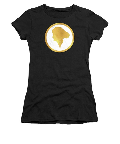 Gibson Girl Gold Silhouette, Marble Cameo, Left Facing Women's T-Shirt