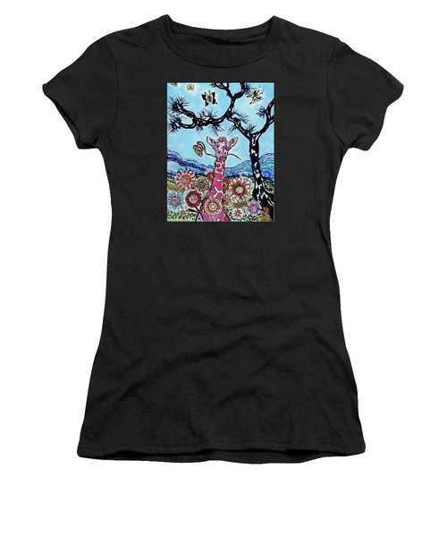 Women's T-Shirt (Junior Cut) featuring the painting Giraffe In Garden by Connie Valasco