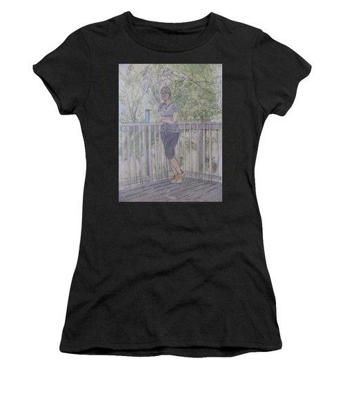 Girl At The Mountain Top Women's T-Shirt