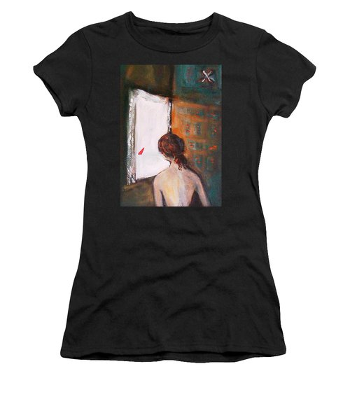 Girl At The Window Women's T-Shirt (Athletic Fit)