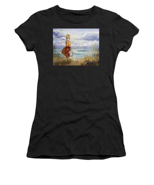 Girl Ocean Shore Birds And Seashell Women's T-Shirt