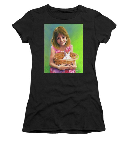 Girl With A Bunny Women's T-Shirt (Athletic Fit)