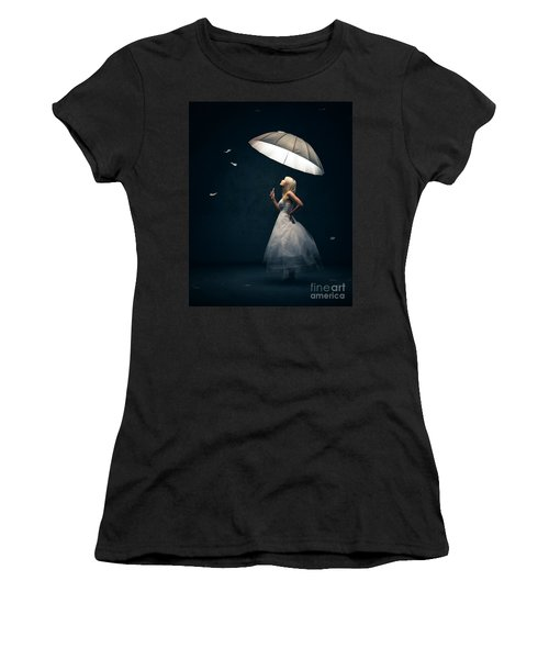 Girl With Umbrella And Falling Feathers Women's T-Shirt (Athletic Fit)