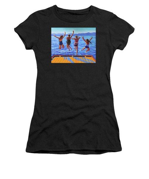 Girls Jumping Women's T-Shirt