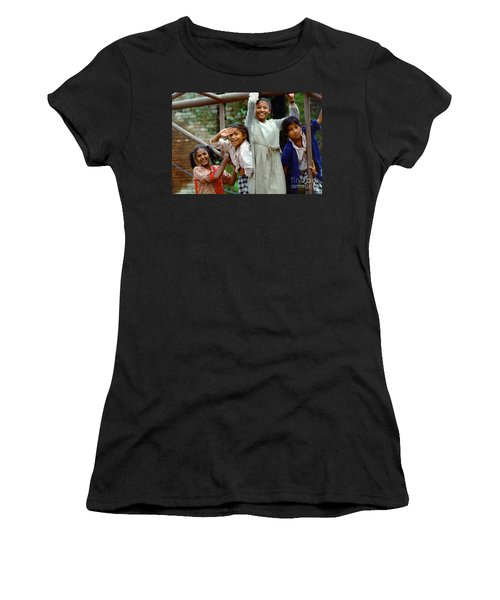 Girls Smiling In Kathmandu, Nepal Women's T-Shirt (Athletic Fit)