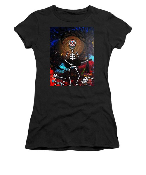 Women's T-Shirt (Junior Cut) featuring the painting Gitarero by Pristine Cartera Turkus