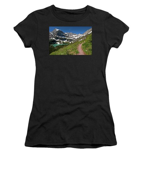 Women's T-Shirt (Athletic Fit) featuring the photograph Glacier Backcountry Trail by Gary Lengyel