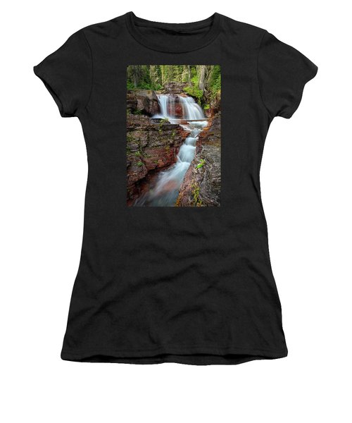 Glacier National Park Waterfall 2 Women's T-Shirt (Junior Cut) by Andres Leon