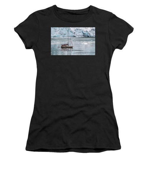 Women's T-Shirt (Athletic Fit) featuring the photograph Glacier Sailing by Ed Clark