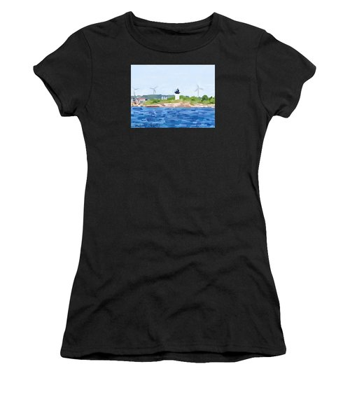 Gloucester Skyline From Harbor With Windmills And Ten Pound Island Lighthouse Women's T-Shirt