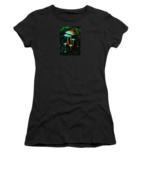 Women's T-Shirt (Athletic Fit) featuring the photograph Glowing Mushrooms by Yulia Kazansky