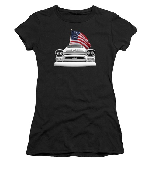 Gmc Pickup With Us Flag Women's T-Shirt