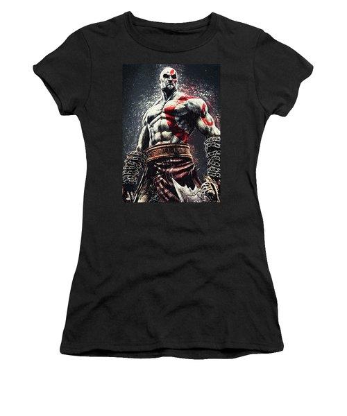 Women's T-Shirt (Junior Cut) featuring the digital art God Of War - Kratos by Taylan Apukovska