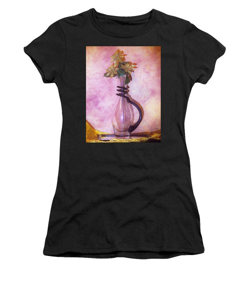 Gold On Pink Flowers Women's T-Shirt