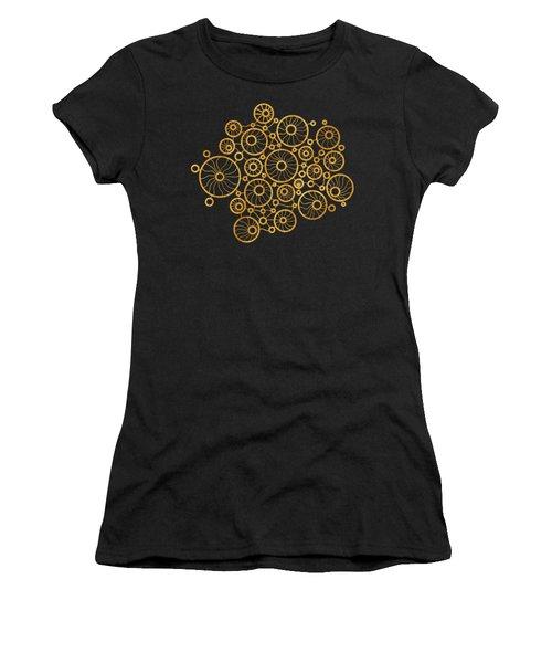 Golden Circles Black Women's T-Shirt