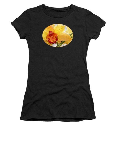 Golden Cymbidium Orchid Women's T-Shirt (Athletic Fit)