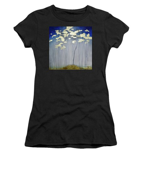 Women's T-Shirt featuring the painting Golden Forest by Mary Scott
