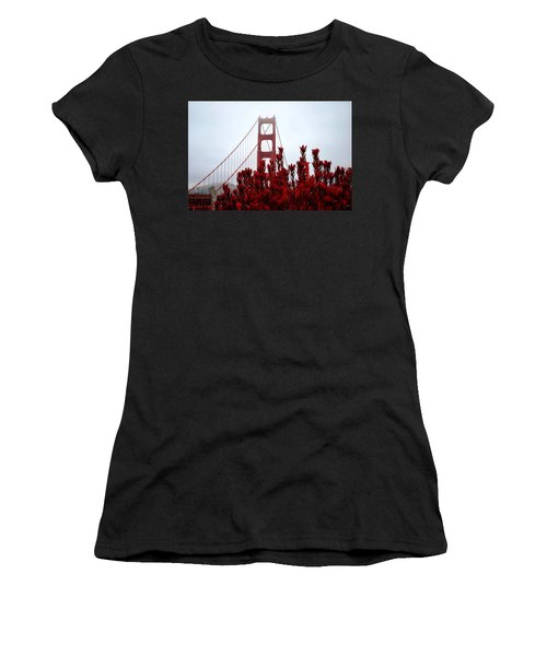Golden Gate Bridge Red Flowers Women's T-Shirt (Athletic Fit)