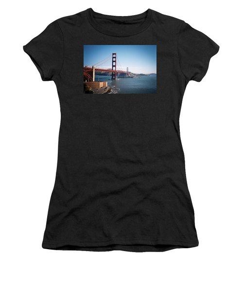 Golden Gate Bridge With Aircraft Carrier Women's T-Shirt