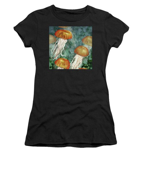 Golden Jellyfish In Green Sea Women's T-Shirt