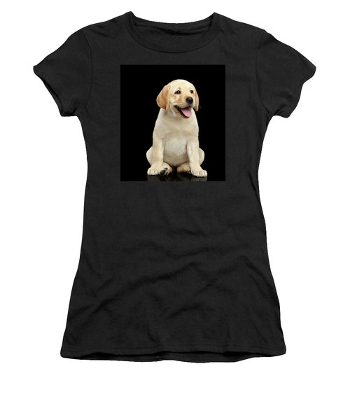 Women's T-Shirt featuring the photograph Golden Labrador Retriever Puppy Isolated On Black Background by Sergey Taran