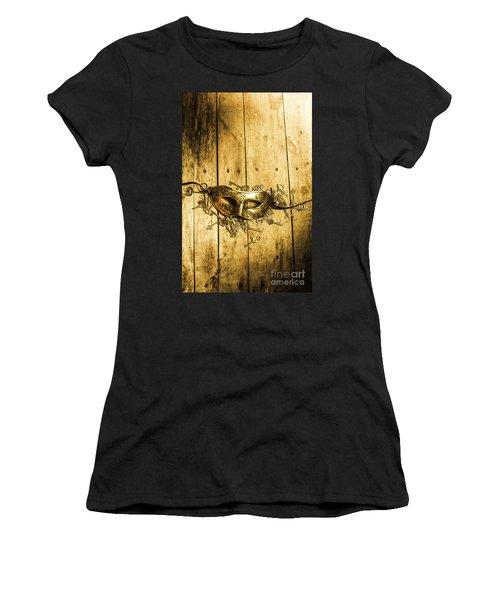 Golden Masquerade Mask With Keys Women's T-Shirt