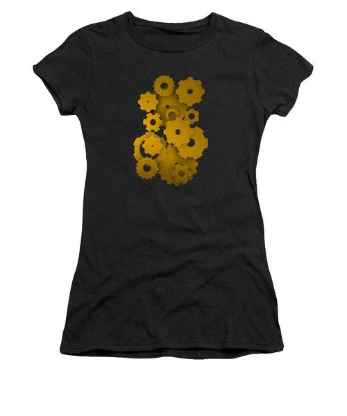 Women's T-Shirt featuring the digital art Golden Mechanical Pieces by Alberto RuiZ