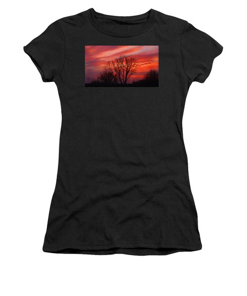 Golden Pink Sunset With Trees Women's T-Shirt