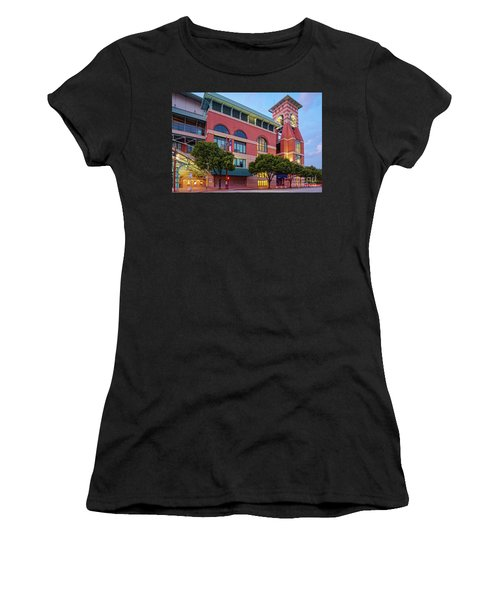 Golden Sunset Glow On The Facade Of Minute Maid Park - Downtown Houston Harris County Texas Women's T-Shirt