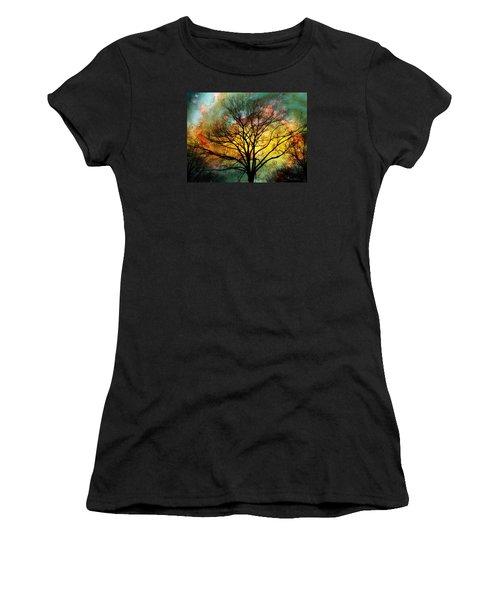 Golden Sunset Treescape Women's T-Shirt (Junior Cut) by Barbara Chichester