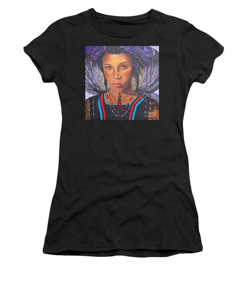 Women's T-Shirt (Junior Cut) featuring the painting Golden Wodaabe Girl by Sigrid Tune