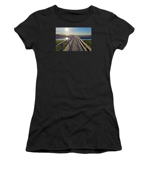Good Harbor Beach Footbridge Sunny Shadow Women's T-Shirt (Athletic Fit)