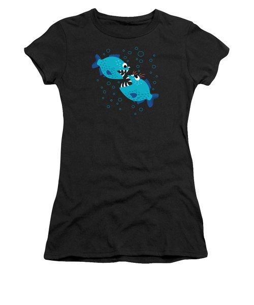 Gossiping Blue Piranha Fish Women's T-Shirt (Athletic Fit)