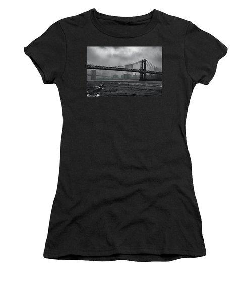 Manhattan Bridge In A Storm Women's T-Shirt (Athletic Fit)
