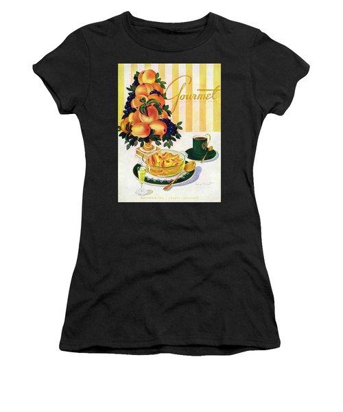 Gourmet Cover Featuring A Centerpiece Of Peaches Women's T-Shirt